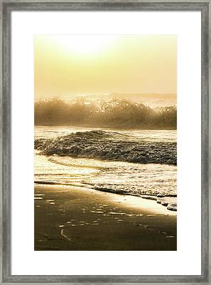 Framed Print featuring the photograph Orange Beach Sunrise With Wave by John McGraw
