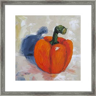 Orange Bell Pepper Framed Print by Torrie Smiley