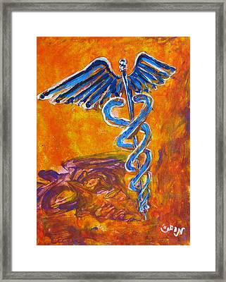 Orange Blue Purple Medical Caduceus Thats Atmospheric And Rising With Mystery Framed Print