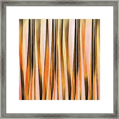 Orange Brown And Peach Autumn Stripy Lines Pattern Framed Print