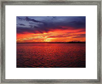Orange Burst At Daybreak Framed Print