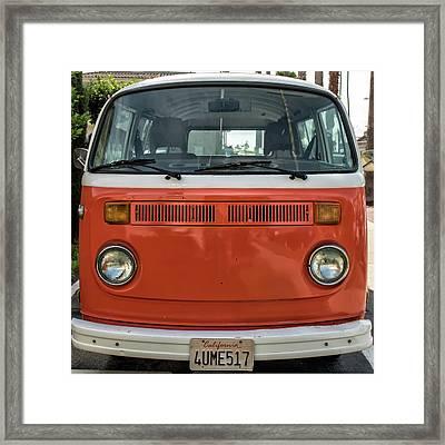 Orange Bus Framed Print
