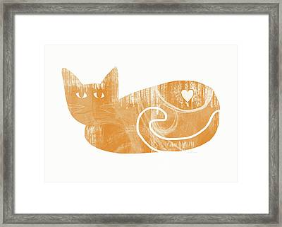 Orange Cat- Art By Linda Woods Framed Print by Linda Woods