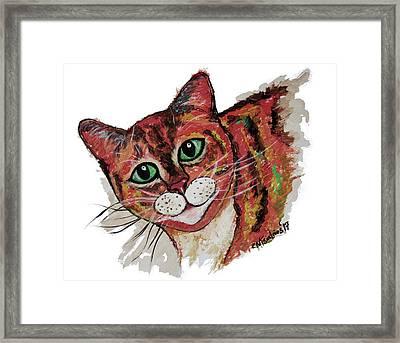 Orange Cat Framed Print by Carol Tsiatsios