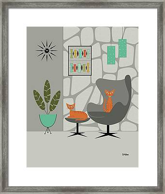Framed Print featuring the digital art Orange Cat In Gray Stone Wall by Donna Mibus