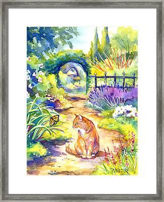 Orange Cat In The Garden Framed Print by Peggy Wilson