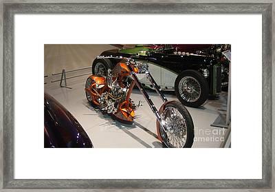 Orange Chopper Motorcycle   # Framed Print by Rob Luzier