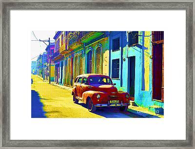 Orange Classic Car - Havana Cuba Framed Print