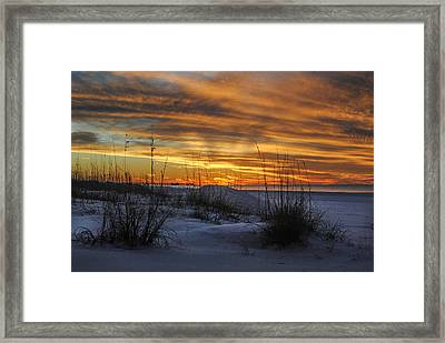 Orange Clouded Sunrise Over The Pier Framed Print