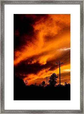 Orange Clouds At Sunset Framed Print
