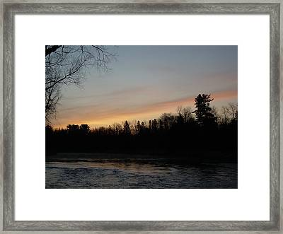 Framed Print featuring the photograph Orange Clouds Mississippi River Dawn by Kent Lorentzen