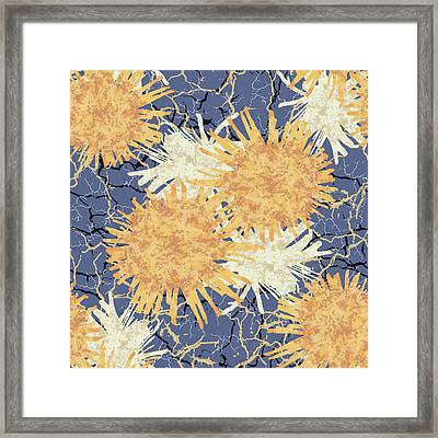 Orange Cobwebs Pattern Framed Print