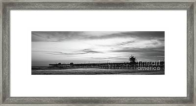 Orange County Pier San Clemente Black And White Panoramic Photo  Framed Print