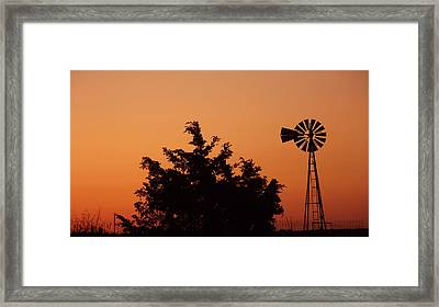 Orange Dawn With Windmill Framed Print