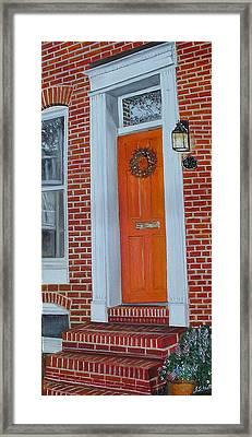 Orange Door Fells Point Framed Print by John Schuller