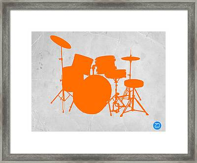 Orange Drum Set Framed Print by Naxart Studio