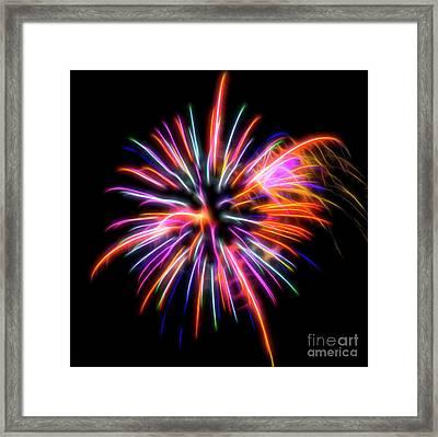 Framed Print featuring the photograph Orange Fireworks by Yulia Kazansky