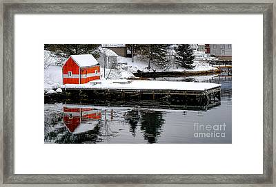 Orange Fishing Shack On A Dock In Maine Framed Print by Olivier Le Queinec