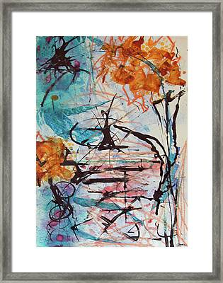 Orange Flowers In Vase Framed Print