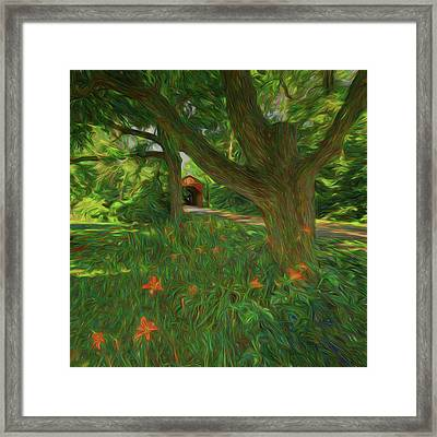 Framed Print featuring the photograph Orange Flowers by Lewis Mann