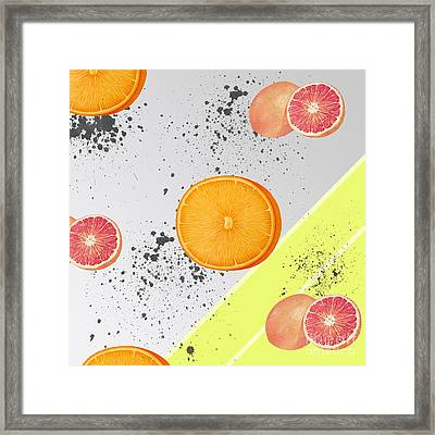 Orange Grapefruit Collage Framed Print by Pati Photography