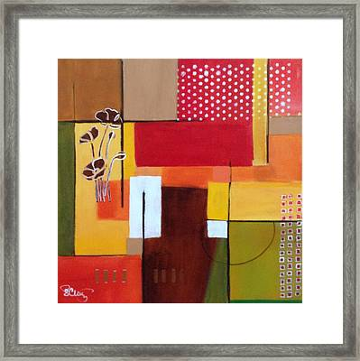 Orange Green, Abstract  Framed Print