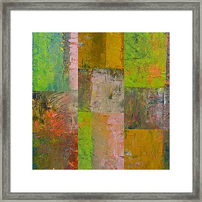 Framed Print featuring the painting Orange Green And Grey by Michelle Calkins