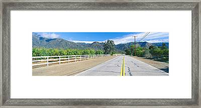 Orange Groves & Snow On Topa Topa Framed Print by Panoramic Images
