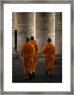 Orange Guests Framed Print