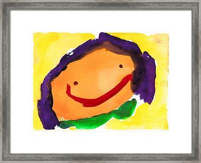 Orange Happy Face Framed Print