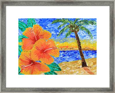 Orange Hibiscus Coconut Tree Sunrise Tropical Beach Painting Framed Print by Beverly Claire Kaiya