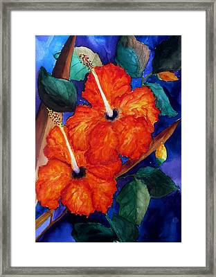 Framed Print featuring the painting Orange Hibiscus by Lil Taylor