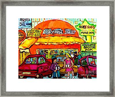 Orange Julep Fast Food Restaurant Decarie Skyline Canadian Painting For Sale Carole Spandau          Framed Print