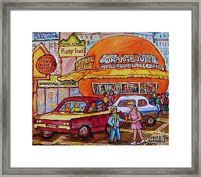 Orange Julep On Decarie Bill Wong Ruby Foo's Colorful City Scene Original Painting Montreal Memories Framed Print