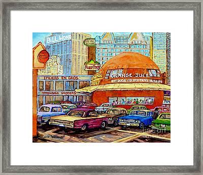 Orange Julep Painting Decarie Blvd Skyline Ruby Foo's Bill Wong's Montreal Memories 60's Cars  Framed Print