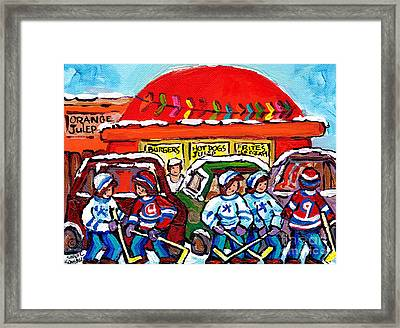 Orange Julep Drive In Montreal Winter City Scene Painting Hockey Art Canadian Artist Carole Spandau  Framed Print