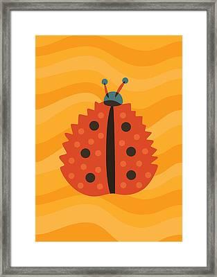 Orange Ladybug Masked As Autumn Leaf Framed Print
