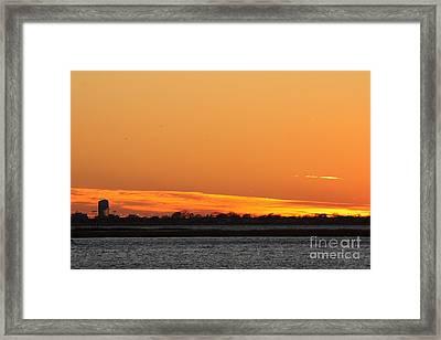 Orange Layered Long Island Fall Sunset Framed Print by John Telfer