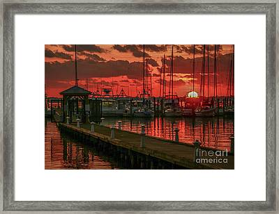 Orange Marina Sunrise Framed Print