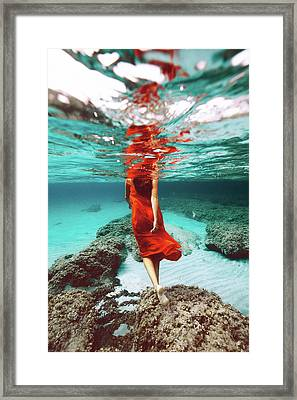 Orange Mermaid Framed Print