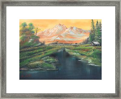 Orange Mountain Framed Print by Remegio Onia