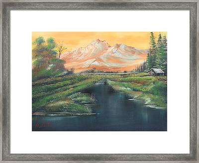 Orange Mountain Framed Print