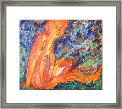 Framed Print featuring the painting Orange Nymph by Esther Newman-Cohen