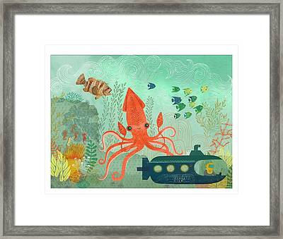 Orange Octopus Underwater With Submarine Framed Print