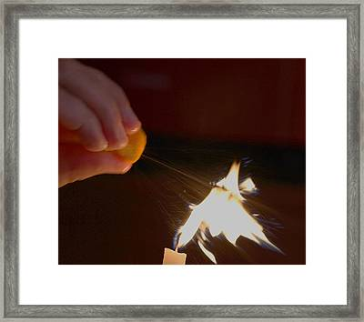Framed Print featuring the photograph Orange Peel Flame Thrower. by John King