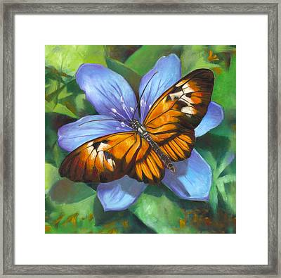 Orange Piano Key Butterfly Framed Print by Nancy Tilles