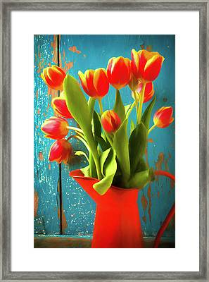 Orange Pitcher With Tulips Framed Print by Garry Gay