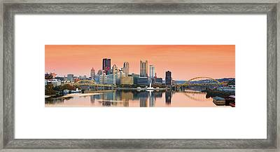 Orange Pittsburgh Sunrise Framed Print