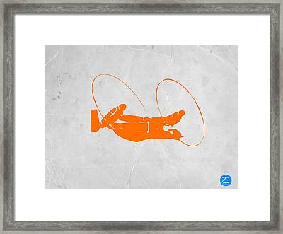 Orange Plane Framed Print by Naxart Studio