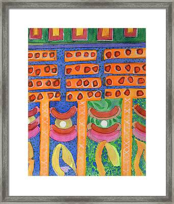 Orange Posts In Mysterious Night Light  Framed Print by Heidi Capitaine